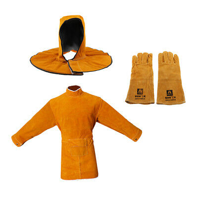 Set of 1 Cowhide Leather Protective Apron Apparel+Welding Helmet Pair+Gloves