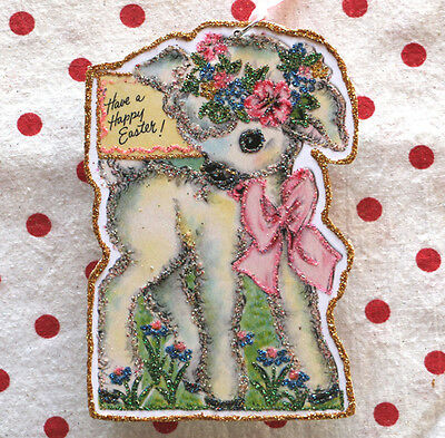 Glittered Handmade Easter Ornament~Lamb with Flowers ~ Vintage Easter Card Image