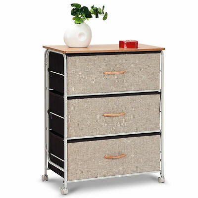3-Drawer Fabric Storage Organizer Unit Side Table Dresser Cabinet W/Wheels NEW