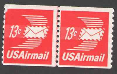 US. C83. 13c.  Winged Airmail Envelope Coil Line Pair. Mint. NH. 1973