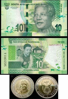 South Africa Set 2 Pcs Coin + Banknotes 5 10 Rand 2016 P New Nelson Mandela