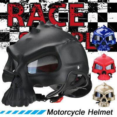 Dual Purpose Skull Full Face Motorcycle Motorbike Front Helmet Adult Road Bike