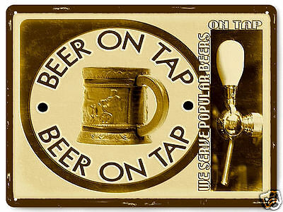 BEER ON TAP METAL sign Beer garden vintage style pub mancave GIFT Wall decor 081
