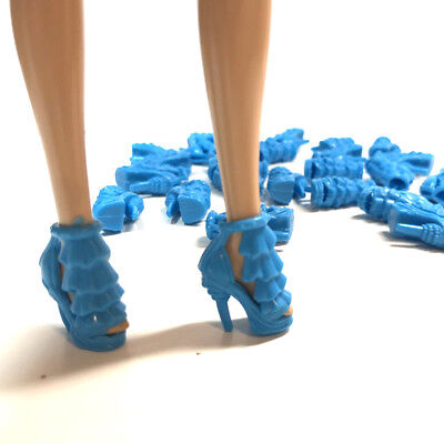 20 Pairs of Doll Shoes Blue Cut Out Heels Shoe For 11.5 inches Dolls
