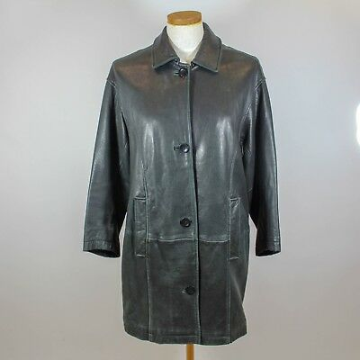 a7d46c3287a EDDIE BAUER BLACK Leather Trench A-line Buttery Soft Coat Women s ...