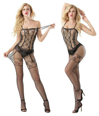 Sexy Lingerie Fishnet Floral Full Length Stretchy Bodystocking Bodysuit Tights