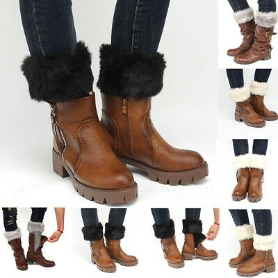 New Women Winter Warm Crochet Knit Fur Trim Leg Warmers Cuffs Toppers Boot Socks