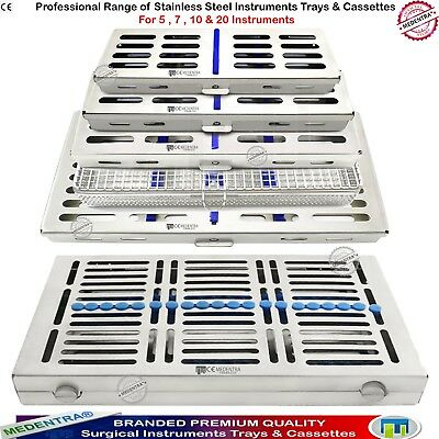 Dental Sterilization Cassettes Trays Stainless Box for 5,7,10,20 Instruments NEW