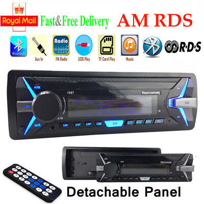 1Din Car Stereo Radio MP3 RDS Player Bluetooth AM FM AUX USB TF Detachable Panel