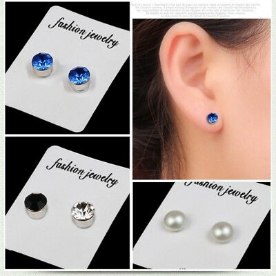 1870a9e37 1Pair Non Piercing Clip on Magnetic Magnet Ear Stud Mens Womens Fake  Earrings