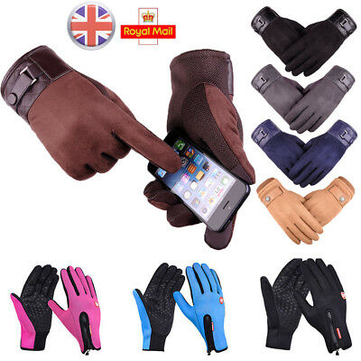 Men Women Leather Sport Gloves Thermal Running Driving Touch Screen Warm Gloves