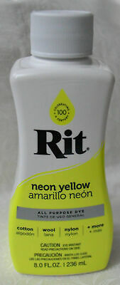 RIT All Purpose Liquid Fabric Dye 236ml Bottle (8 FL OZ) NEON YELLOW