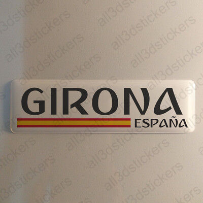 """Girona Spain Sticker 4.70x1.18"""" Domed Resin 3D Flag Vinyl Stickers Decal"""