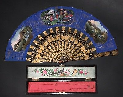 Great Antique Chinese Gold Lacquer Hand Painted View Landscape Figural Scene Fan