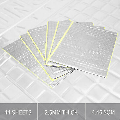 44 Sheets 2.5mm Thick Sound Proofing Vibration Deadening Sheets Mat for Car Van