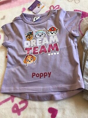 Paw Patrol Girls Pyjamas Age 4-5 Years Brand New Personalised With Poppy