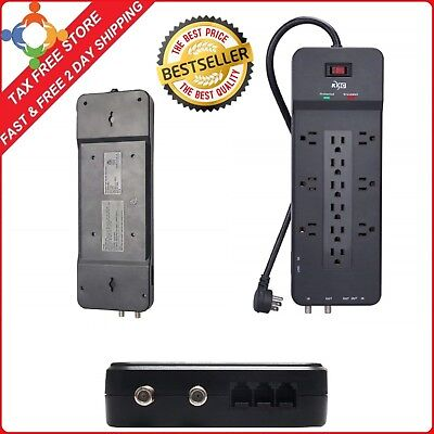 Surge Protector 12 Outlet Power Strip TV Network Telephone Port with 8 Foot Cord