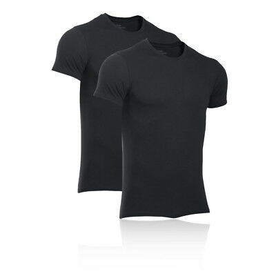 Under Armour Mens Core 2 Pack Crew T Shirt Tee Top Black Sports Running