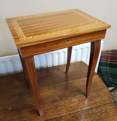 vintage sorrento inlayed wood musical SIDE TABLE