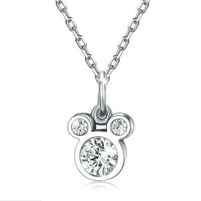 Cute Disney Mickey Mouse 925 Sterling Silver Cubic Zirconia Pendant Necklace