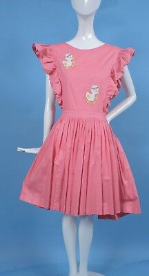 1940'S Pink Pinafore For Dress W Duckling Appliqués