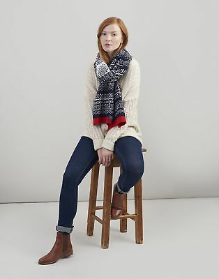 Joules Womens Swirlton Fairisle Knitted Scarf ONE in FRENCH NAVY in One Size