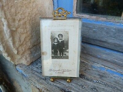 Antique Napoleon III  French Glass Photo Frame with a brass Bow at the top