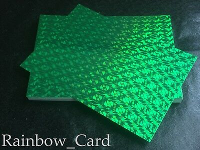 20 Sheets - Cracked Ice Green Holographic A4 Crafting Card 260 Gsm