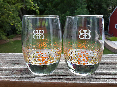 2 Bailey's Irish Cream Glasses 22K Gold Bubbles Confetti Dots Tumblers Whiskey