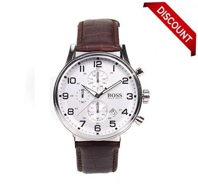 New Hugo Boss Brown Hb1512447 Leather Strap Classic Chronograph Men's Watch