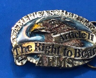 Vtg 1984 Belt Buckle 2nd Second Amendment, Right to Bear Arms Americas Heritage