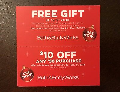 Lot of 2 Bath & Body Works Coupons, Various Expirations in December 2018