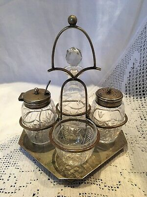 Antique  EPNS cruet set On Stand Open Salt, Pepper, Mustard with Spoon & Vinegar