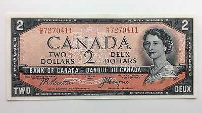 1954 Canada Devil Face Two 2 Dollars HB Series Uncirculated Bill Banknote H729