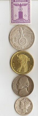 "-*free *egyp. ""Cleo""  BRASS coin + *WW2 - *german  SILVER  EAGLE coin/stamp"