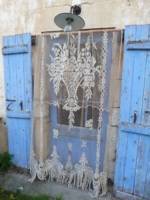 Antique 1900/1920s Edwardian French cream filet lace  curtain  chateau
