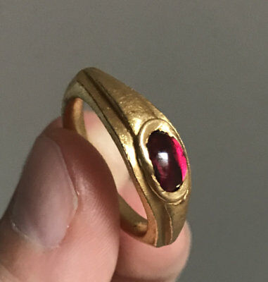 Heavy Antique Gold Ring with Red Garnet Roman Style Ancient Look