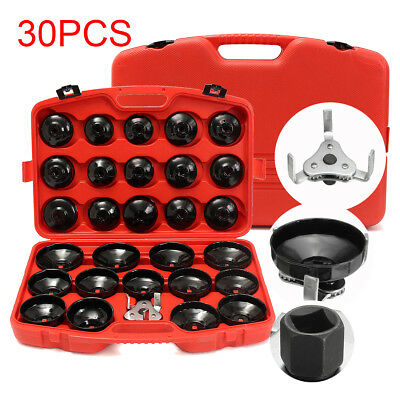 30Pcs Car Auto Cup Type Oil Filter Cap Wrench Socket Removal Tool Set W/case