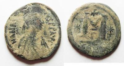 ZURQIEH -as8768- BYZANTINE. ANASTASIUS AE FOLLIS. AS FOUND.