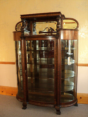 Large Antique Quarter Sawn Oak Curved Glass China Cabinet