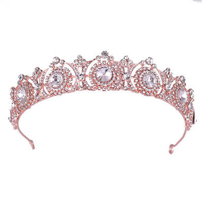Princess Rhinestone Tiara Crown Bridal Wedding Prom Pageant Rose Gold & Silver