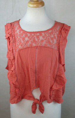 XHILARATION WOMENS XXL 2XL SMOCKED BACK CROPPED BLOUSE SHIRT TOP CORAL PINK
