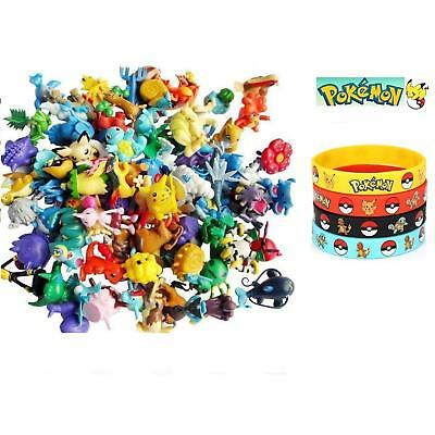 24Pcs Lots Pokemon + 12 BRACELETS Mini Random Pearl Action Figures Kids Toys