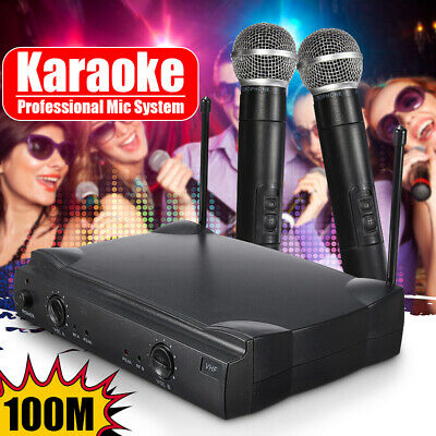 VHF Wireless Microphone Handheld Pro 2 Channel System 2 MIC Home Karaoke Stage