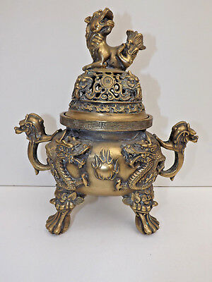 Antique Chinese Brass Incense Burner With 6 Character Marks On Base