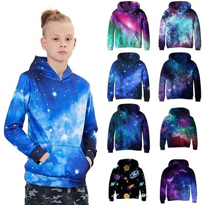 Kids Boys Girl Hooded Galaxy Space Nebula Hoodie Sweatshirt Pullover Jumper Coat