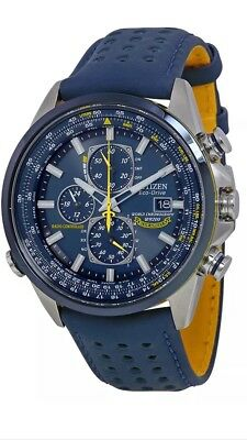 Brand New Citizen Eco Drive (At8020-03L) Blue Angels Chronograph Leather Watch