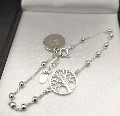 925 Sterling Silver Personalised Engraved Celtic Tree Of Life Bracelet, Gift Box