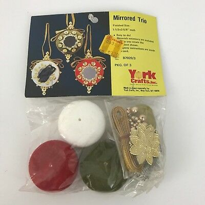 Vintage Bead and Sequin Christmas Ornament kit York Crafts Inc Mirrored Trio