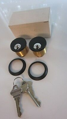 Adams Rite Keyed Alike Bronze Lock Cylinders Commercial Glass Door Black Silver